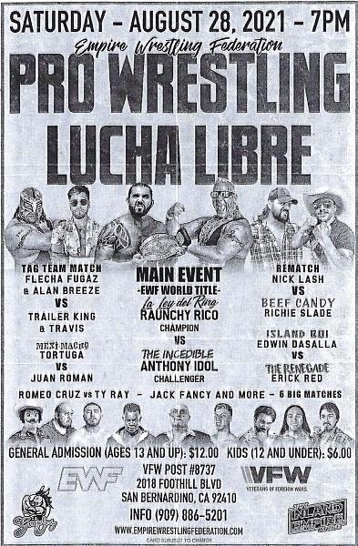 Pro Wrestling Lucha Libre @ VFW POST #8737 | San Bernardino | California | United States
