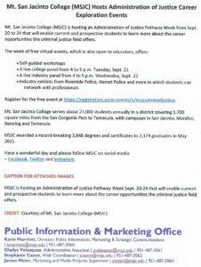 MSJC Hosts Administration of Justice Career Exploration Events. @ Virtual Event