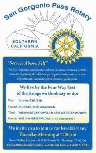SGPass Rotary Breakfast @ Russo's Italian Kitchen | Banning | California | United States