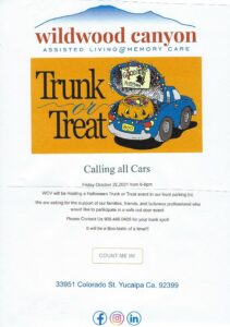 """Wildwood Canyon's ' Trunk or Treat"""" @ Wildwood Canyon Front Parking Lot 