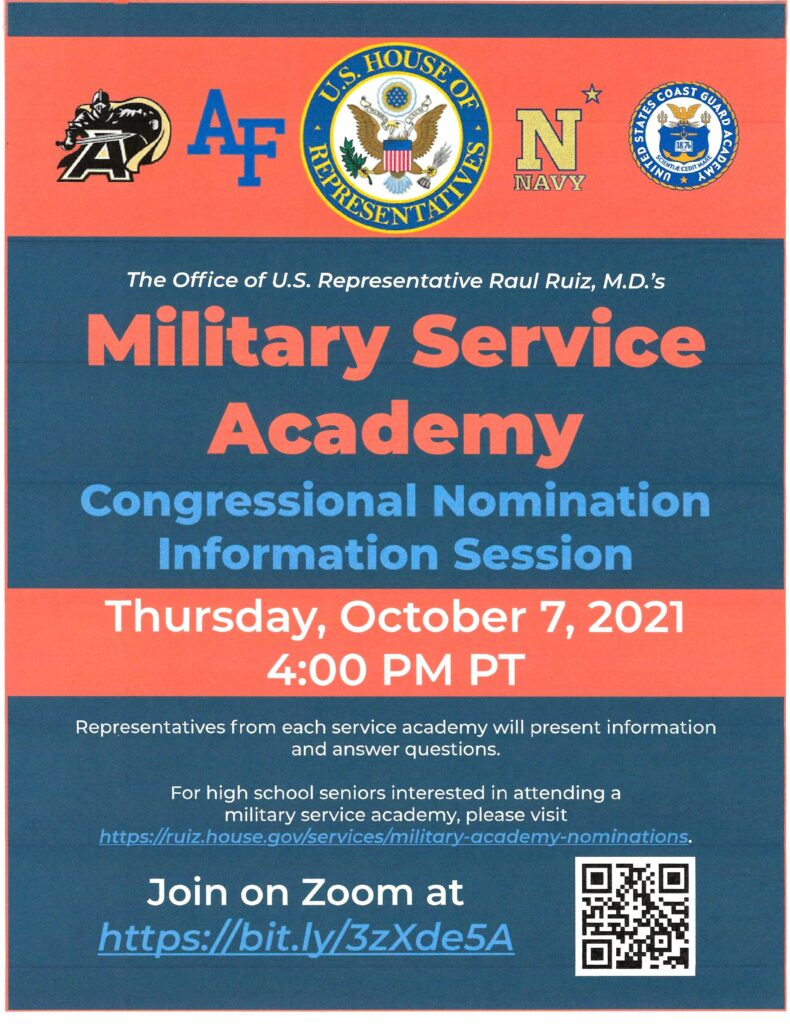 Military Service Academy @ Zoom Meeting https://bit.ly/3zXde5A | Beaumont | California | United States