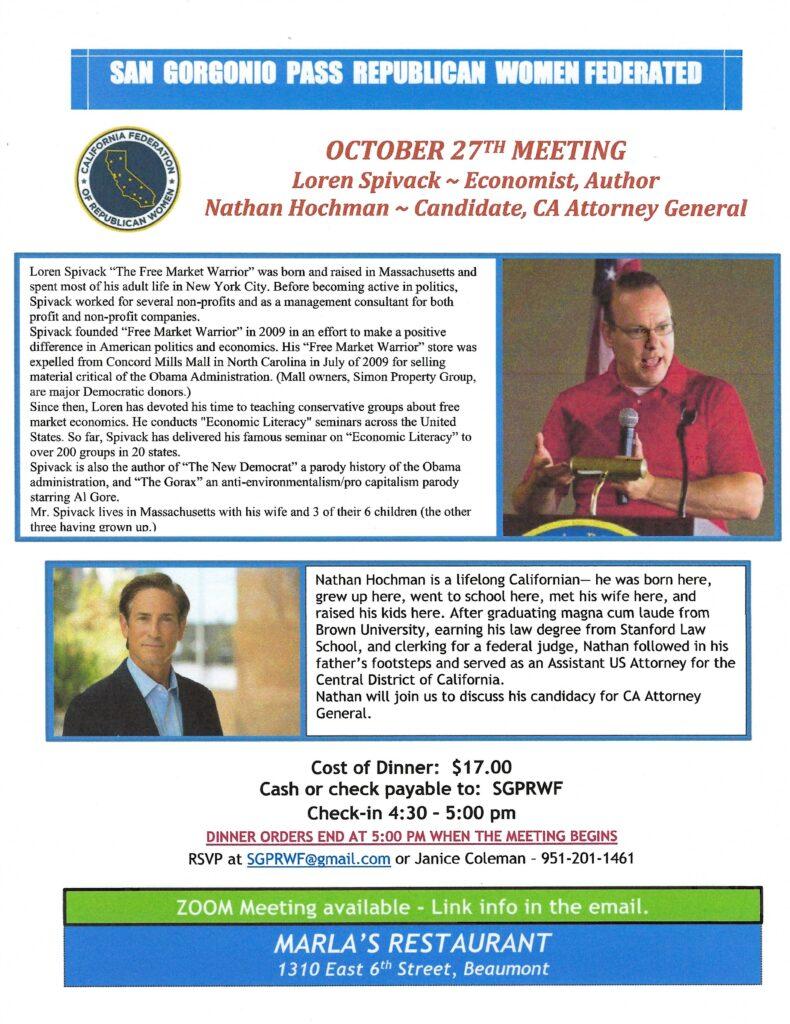 SGPRWF Meeting @ Marla's Restaurant | Beaumont | California | United States
