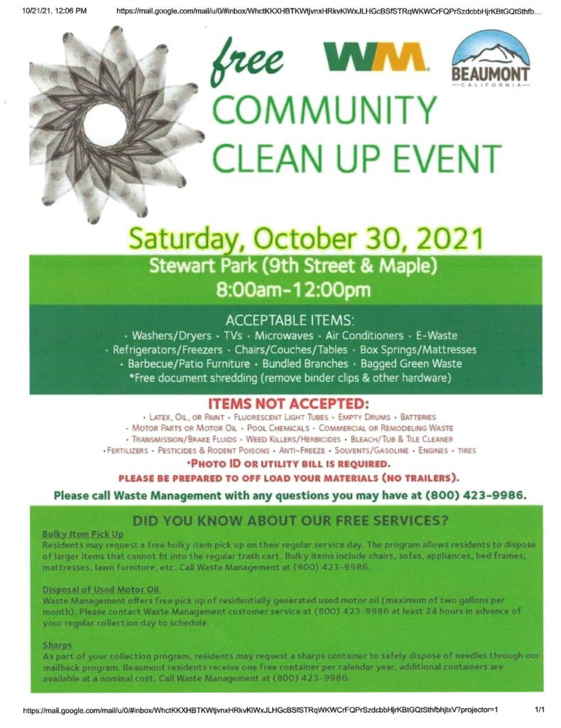 Community Clean Up @ Stewart Park | Beaumont | California | United States