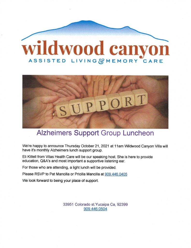 Alzheimer's Support Group @ Wildwood Canyon Villa | Yucaipa | California | United States