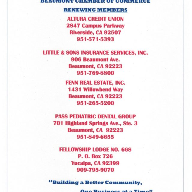 THANK YOU TO OUR RENEWING MEMBERS