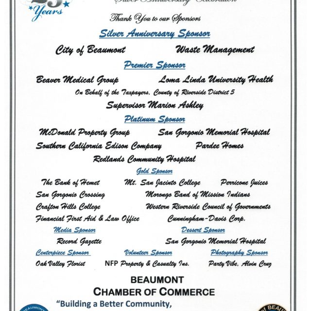 STATE OF THE CITY SPONSORS – THANK YOU FOR YOUR SUPPORT