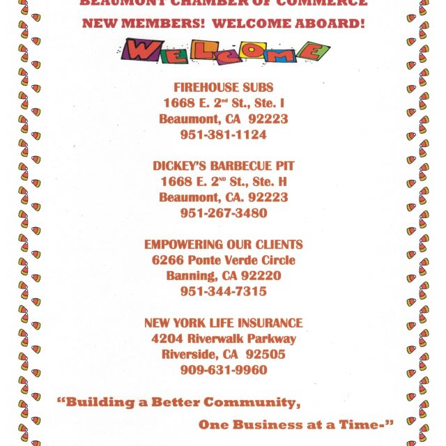 A BIG CHAMBER THANK YOU TO OUR NEW AND RENEWING MEMBERS