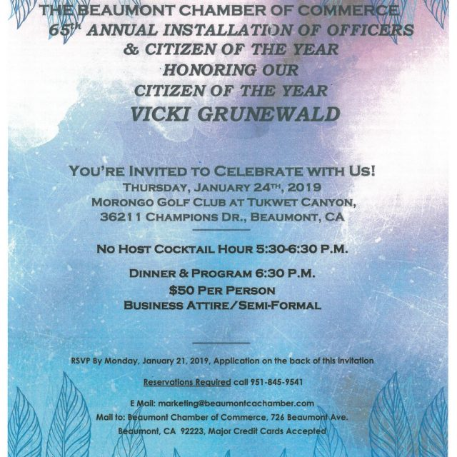 65th ANNUAL INSTALLATION OF OFFICERS & CITIZEN OF THE YEAR