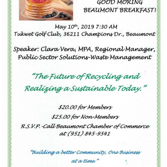 "Good Morning Beaumont – ""The Future of Recycling and realizing a Sustainable Today"""
