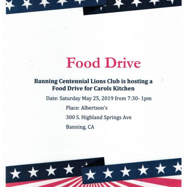 FOOD DRIVE – MAY 25