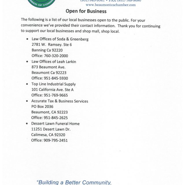 WE ARE OPEN FOR BUSINESS AND READY TO HELP!