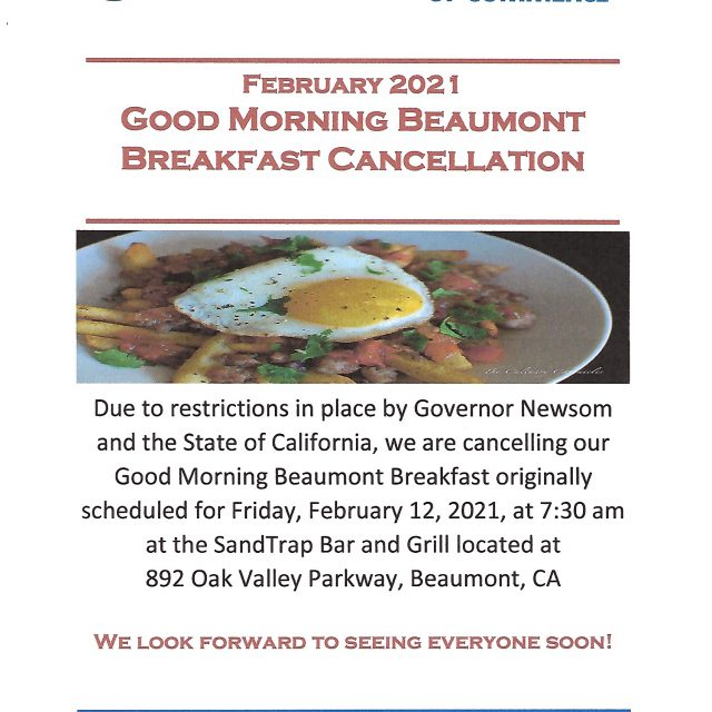 Cancellation of February 2021 Good Morning Beaumont Breakfast