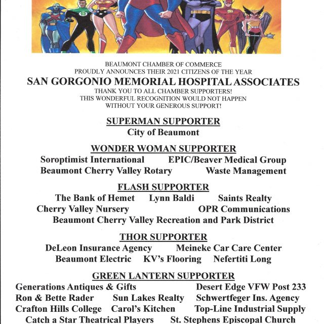 Citizens of the Year – SGMH Associates  Thank you sponsors and restaurants for your generous support!