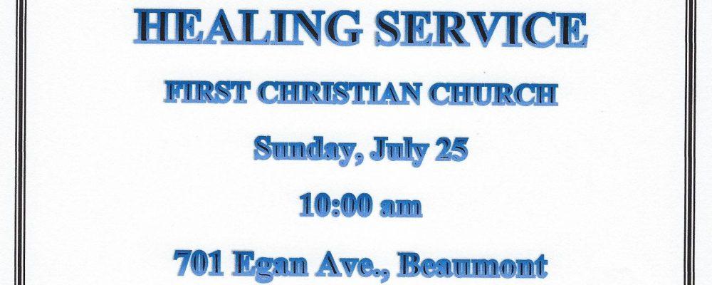First Christian Church Healing Service.