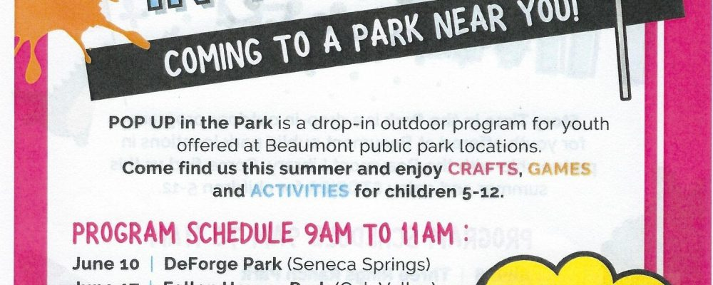 Pop Up's in the Park!!