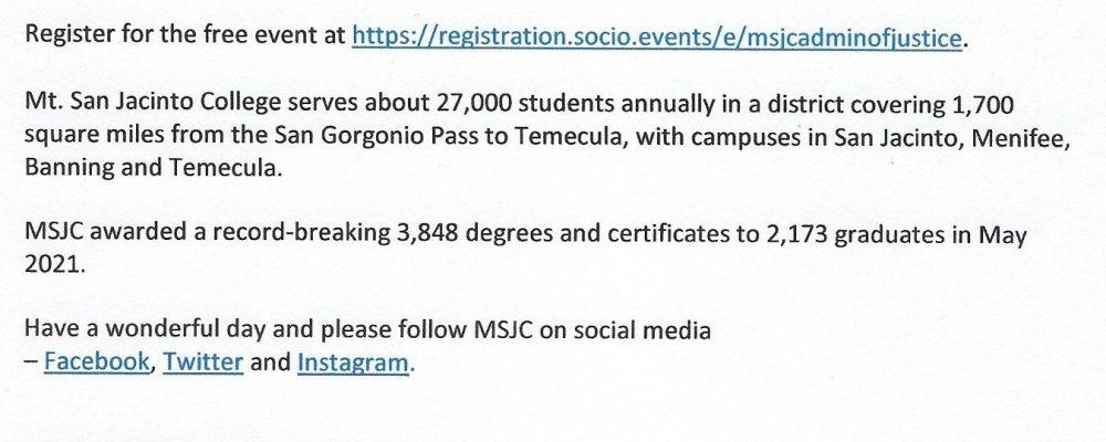 MSJC Hosts Administration of Justice Career Exploration Events.