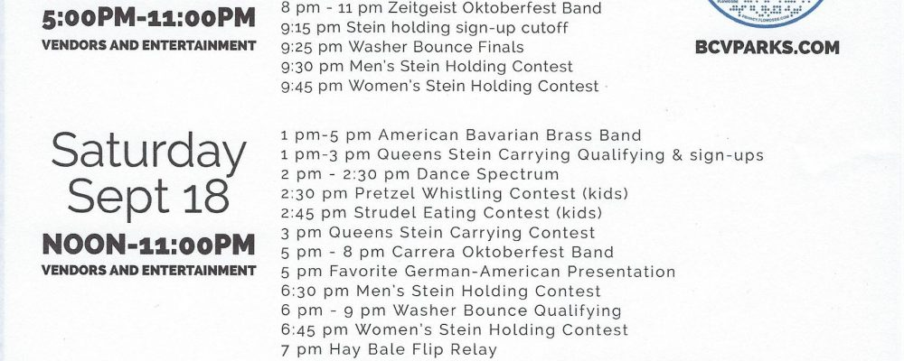 Oktoberfest Royal Game Schedule.